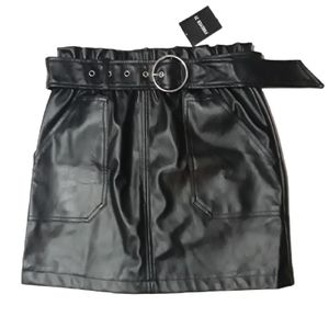 Forever 21 Black Faux Leather Skirt small